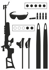 Biathlon sports. Set of  equipment