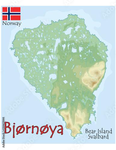 Bjornoya Bear Island Norway Map Flag Emblem Stock Image And - Norway map and flag