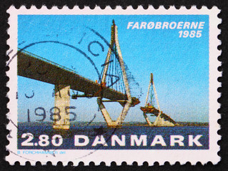 Postage stamp Denmark 1985 Opening of the Faro Bridges