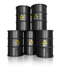 Group of black oil barrels