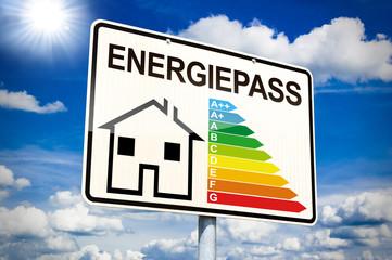 Ortseingangsschild mit Energiepass