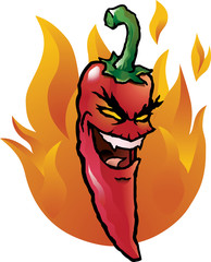 Evil red chili pepper