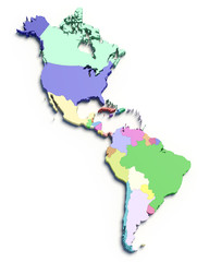 3d color map of south and north american countries