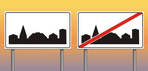 built-up area  - information sign