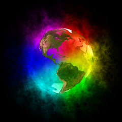 Rainbow planet Earth - America