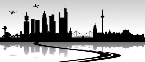 Skyline Frankfurt mit Autobahn