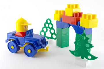 Blue car - mechanical plastic toy front color toy-gate