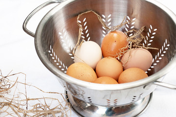 Brown Eggs in Colander with Straw
