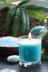 Spa setting with bath salt and candles