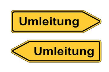 Verkehrsschild links rechts Umleitung