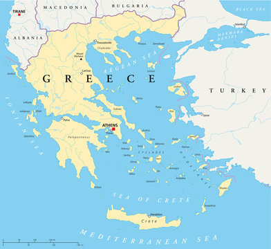 Greece political map with the capital Athens, national borders, most important cities, rivers and lakes. With english labeling and scale. Illustration. Vector.