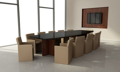Conference room in business interior, wood, marble