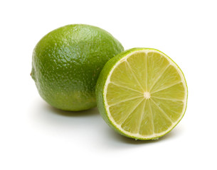 lime and its half on white background