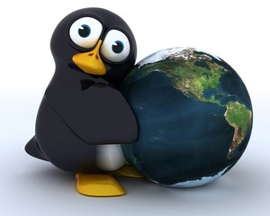 Glossy Penguin Character with globe