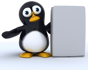 Glossy Penguin Character with blank box
