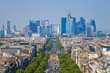 The Avenue Charles de Gaulle and La Defense, Paris.