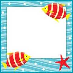 Framework for photos. Sea theme. Fishes.