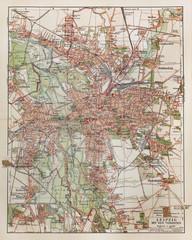 Vintage map of Leipzig