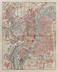 Vintage map of Lyon