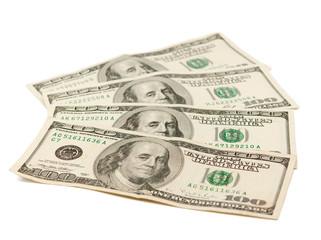hundred-dollar bills isolated