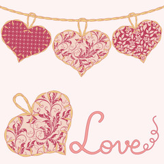 Valentine card with handmade textile hearts