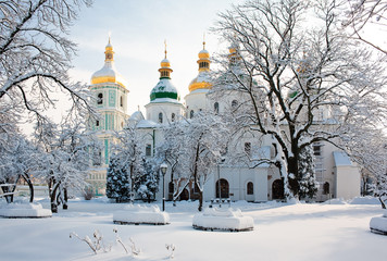 Ingelijste posters Kiev Saint Sophia Cathedral in Kiev in winter