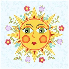 Cartoon sun with flowers, vector