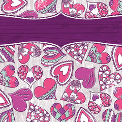 violet valentine background with color hearts