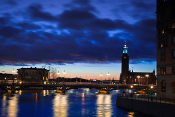 night view of Stockholm city