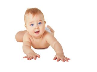 Happy crawling baby boy