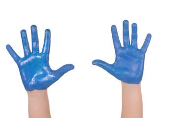 Children painted hands