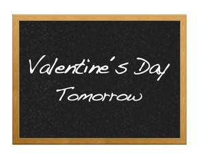 Valentine's message on a blackboard.