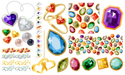 Big jewellery set with gems,perls,gold,silver and rings