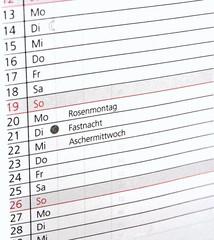 Termine - Rosenmontag, Fastnacht, Aschermittwoch