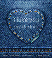 vector Jeans heart denim texture