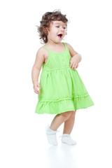 little funny girl dancing in studio