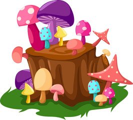 Photo sur Plexiglas Monde magique Colorful mushrooms with tree stump