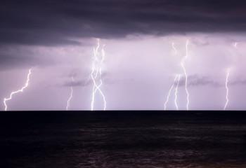 Lightning storm over sea