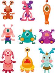 Aluminium Prints Creatures cartoon Monsters icons set