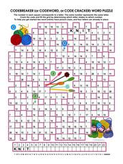 Codebreaker (codeword, code cracker) word puzzle, brain game