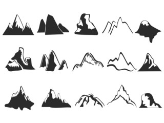 set of mountain icons