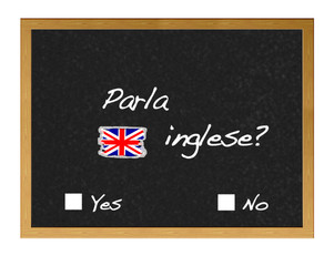 Blackboard with  do you speak English?. written in Italian.