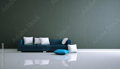 wohndesign blaues sofa vor grauer wand stockfotos und. Black Bedroom Furniture Sets. Home Design Ideas