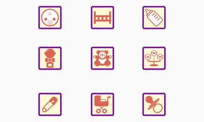 Set of children's icons stylized mark.