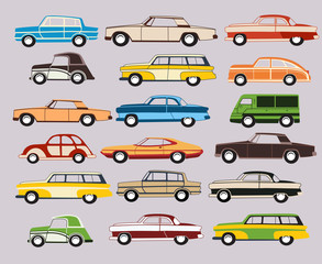 Set of vector old car