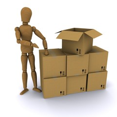 Wooden hand man points to a cardboard box. 3D rendering