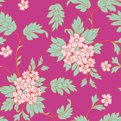 The  flower and  leafs on pink background. Seamless