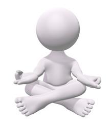 3D man practicing zen meditation
