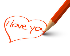 Red Heart -  Vector I Love You Card