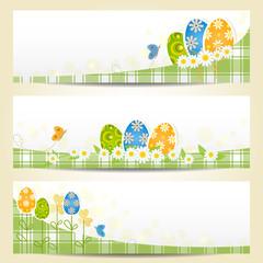 banners pasquali - uova, margherite e farfalle